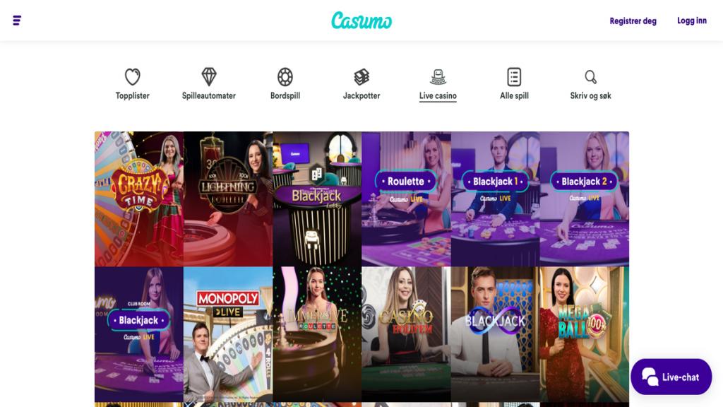 Casumo live casino omtale bonus erfaringer