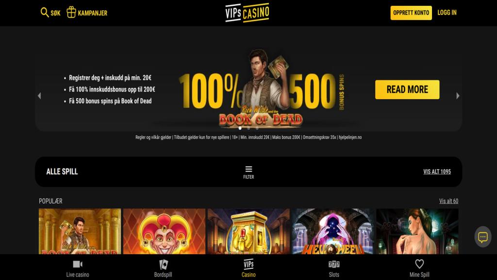 VIPS Casino vurdering erfaringer svindel fusk juks